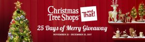 Christmas Tree Shops andThat! – 25 Days of Merry Giveaway – Win a grand prize of a $1,000 Christmas Tree Shops andThat Gift Card OR 1 of 25 minor prizes