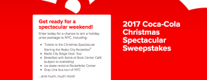 Coca-Cola – 2017 Christmas Spectacular – Win a prize package of a weekend for 4 in NYC valued at $4,300