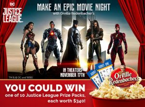 "Conagra Orville Redenbacher – Do Popcorn Justice – Win 1 of 10 ""Do Popcorn Justice"" prize packs valued at $310 each"