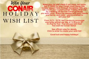 Conair Beauty – Holiday Wish List – Win 1 of 5 prize packages valued at up to $425