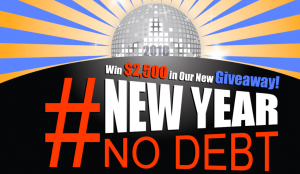 Debt.com – #NewYearNoDebt – Win $2,500 USD to pay off your holiday debts or pay for a new year's resolution