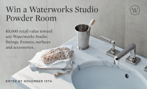 Dering Hall – Waterworks Powder Room – Win Fixtures, Furnishing, Accessories, Surfaces and Fittings valued at $5,000