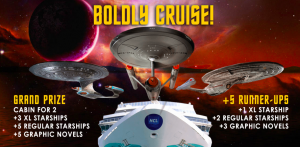 Eaglemoss –  Boldly Cruise – Win a grand prize of an Oceanview stateroom cabin for 2 on Star Trek: The Cruise II OR 1 of 5 minor prizes