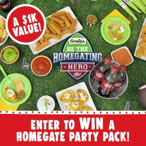 Farm Rich – Homegating Hero – Win 1 of 5 Homegating Hero prize packs valued at $1,000 each
