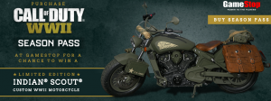 Gamestop – Win a Limited Edition Indian Call of Duty World War II Scout motorcycle valued at $8,995