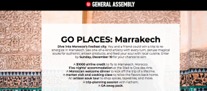 General Assembly – Go Places: Marrakech – Win a trip to Morocco plus more valued at $3,600