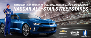 General Motors – Race to Win Camaro – Win a 2018 Chevy Camaro Coupe & a Trip for 2 to the 2018 Monster Energy NASCAR Cup Series All-Star Race (total valued at $40,005)