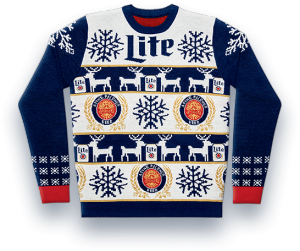 "MillerCcoors – Miller Lite Ugly Sweater – Win 1 of 5,830 Miller Lite branded ""ugly sweaters"" valued at $60 each"
