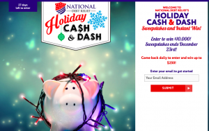 National Debt Relief – Cash & Dash Holiday – Win a grand prize of a $10,000 check OR 1 of 150 Instant Win prizes