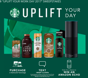 Pepsi-Cola – Starbucks Uplift Your Work Day 2017 – Win 1 of 54 prizes of an Amazon Echo valued at $179 each