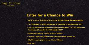 Rag & Bone – Ultimate Galactic Experience – Win a trip package for 2 to San Francisco valued at $8,650