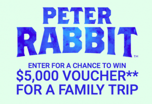 Sony Pictures – Peter Rabbit – Win a $5,000 travel voucher for a family trip