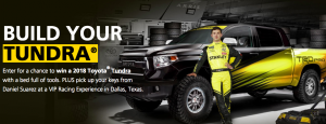 Stanley Tools – Stanley Fatmax Build Your Tundra – Win a grand prize valued at $63,043 including a 2018 Model Year Toyota Tundra, a VIP Racing Experience and more