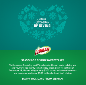 The Libman Company – Season of Giving – Win 1 of 12 Visa gift cards valued at $500 each