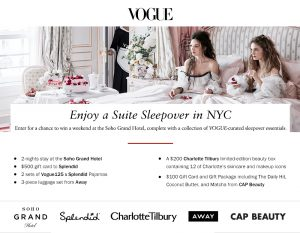 Vogue – Suite Sleepover in NYC – Win a prize package valued at $4,353