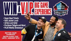 Gatehouse Media and Pro Football Hall of Fame – Big Game – Win a Football prize package valued at $12,498 OR Weekly prizes