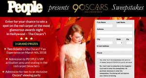 People Magazine – Red Carpet Oscars Fan Experience – Win 1 of 3 trips for 2 to Los Angeles OR 1 of 50 minor prizes