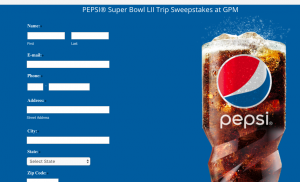 Pepsi – Super Bowl LII Trip – Win a grand prize package valued at $7,800 including a trip for 2 to Minneapolis and more
