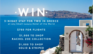 Refinery29 – Trip to Greece – Win 3-night stay for 2; a $1,000 gift card & $750 Amex Gift Card for flights