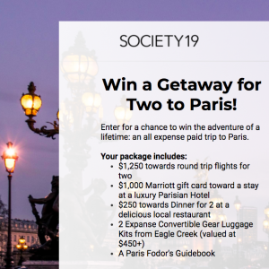 Society19 – Win a trip for 2 to Paris valued at $3,000