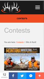 Buckmasters – 2018 Montana Whitetail Hunt Giveaway – Win List Montana Hunt Giveaway • The hunt will take place in Oct or Nov of 2018 in eastern Montana