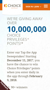 Choice Hotels – Tap The App – Win into each winner's Choice Privileges membership account