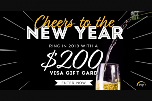 INSP – Cheers To The New Year – Win package contains a $200 Visa Gift Card