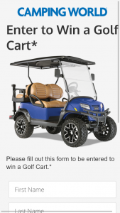 Camping World – Golf Cart Giveaway – Win Car Onward