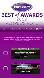 "Carscom – 2018 People's Vote Award – Win $5000 check (""Grand Prize"" or ""Prize"")."