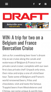 "Draft Magazine – Beer Bon Voyage Belgium – Win the winner and one (1) verified travel guest (""Guest"") to Belgium and France Beer Vacation Cruise 2018 with Bon Beer Voyage"