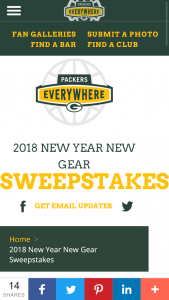 Green Bay Packers – 2018 New Year New Gear – Win One (1) $500 Packers Pro Shop gift card Approximate Retail Value $500.