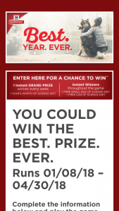 Hill's Science Diet – Best Year Ever Instant Win Game Sweepstakes