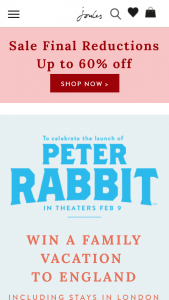 Joules Limited – Peter Rabbit Win A Family Vacation To England – Win up to 2 adults and 2 children (being under the age of 18 at the date of travel).