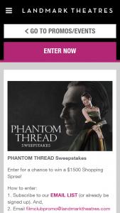 Landmark Theaters – Phantom Thread – Win Visa Gift Card (est ARV $1500.00).