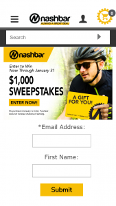 Nashbar – $1000 – Win two $500 Nashbar Gift Cards Total approximate value of the prize is $1000.00