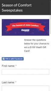 Nutramax Laboratories – The Season Of Comfort – Win one (1) Visa® Gift Card in the amount of $100 (each