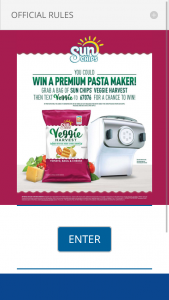 Pepsi-Cola – 2018 Sunchips Veggie Harvest Tomato Basil & Cheese – Win (5) $349.95 MSRP Philip Premium Collection Pasta and Noodle Maker