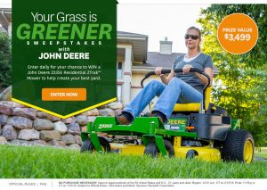 Meredith – Better Homes and Gardens – Win a prize package of a John Deere Mower valued at $2,499 & a $1,000 check