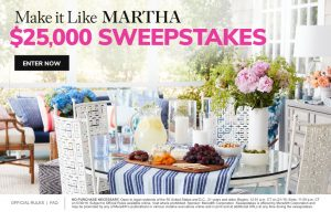 Meredith – Martha Stewart – Win a $25,000 check