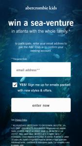 Abercrombie & Fitch – Abercrombie Kids Sea-Venture – Win a trip to Atlanta