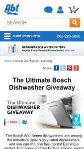 "Abt Electronics – Valentine's Day Giveaway – Win be one (1) Bosch 800 Series 24"" Dishwasher – SHPM78W55N which will be awarded to one winner"