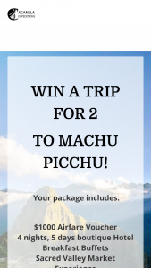 ACANELA – TRIP TO MACHU PICCHU Sweepstakes