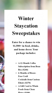 BEAN BOX – WINTER STAYCATION Sweepstakes