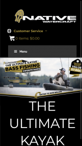Big Adventures Native Watercraft – Ultimate Kayak Bass Fishing – Win a prize package consisting of One Native Watercraft Titan Propel 10.5 One Power-Pole Micro-Anchor