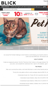 BLICK ART MATERIALS – PET PORTRAIT CHALLENGE – Win the following prizes  •     Amsterdam Acrylic Ink