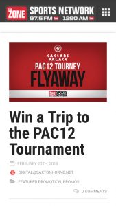CAESARS ENTERTAINMENT – PAC 12 FLYAWAY – Win the following