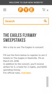 Fye – The Eagles Flyaway – Win two (2) tickets to see The Eagles in concert on 3/24/2018 in Nashville