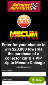 GOLD EAGLE COMPANY – COLLECTOR CAR GIVEAWAY DREAM EXPERIENCE – Win A 303 paddle valued at $20000 for use in connection with winner's bid on a collector car at the Mecum Auction in Chicago