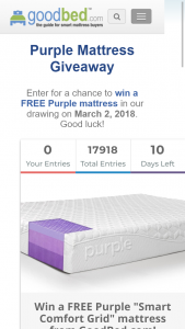 GOODBED – PURPLE MATTRESS GIVEAWAY – Win one free Original Purple mattress in winner's preferred size (value of $999 in queen or $1299 in king).