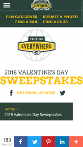 Green Bay Packers – 2018 Valentine's Day – Win One (1) $500 Packers Pro Shop gift card Approximate Retail Value $500.
